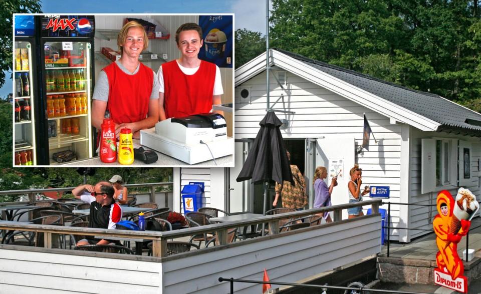 Sindre Andersen og Henrik Kronberg ønsker velkommen til Kiosken i Badeparken.
