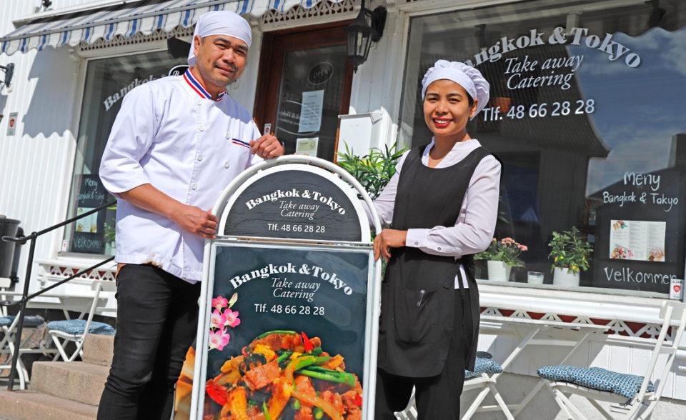 Kokken Surasit Janjampa og innehaver Altima Nonchanthuk ønsker velkommen til Bangkok & Tokyo på Drøbak Torg.